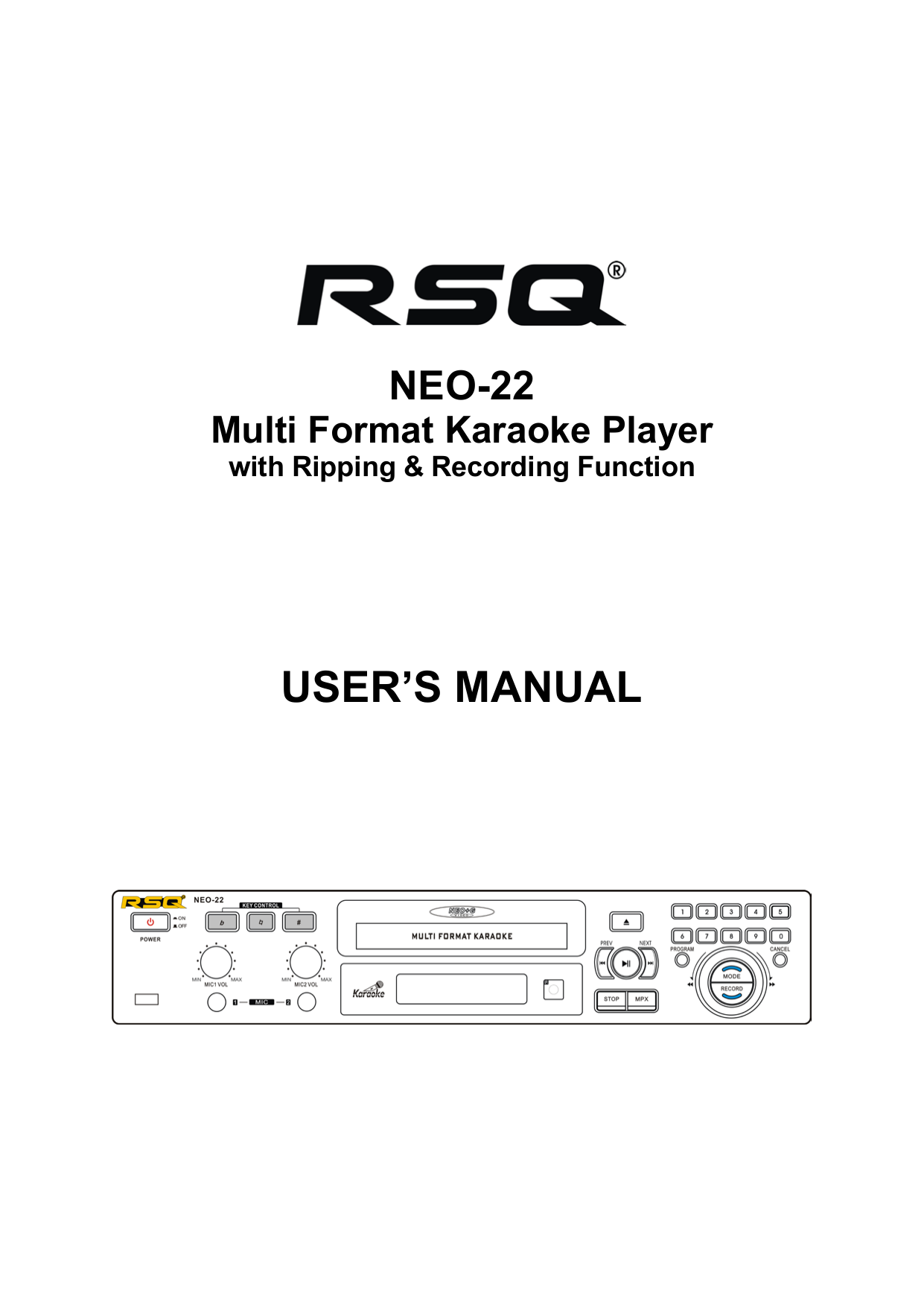 pdf for RSQ Karaoke System Echo Series E500 manual