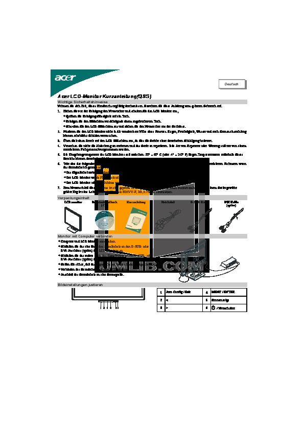 pdf for Acer Monitor AL2416W manual