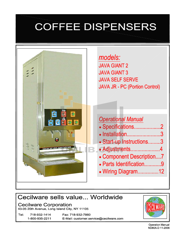 pdf for Cecilware Coffee Maker JAVA GIANT 2 manual