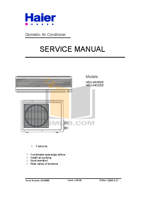 Haier air Conditioner Repair Manuals on