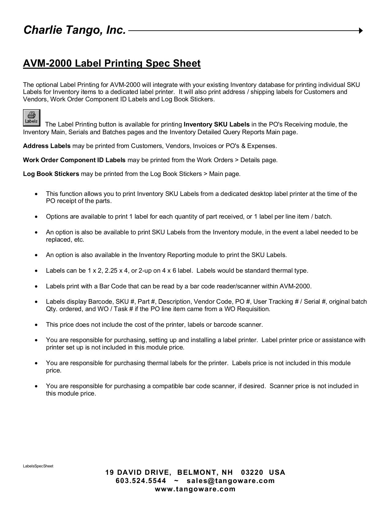 pdf for Wasp Printer WPL305 manual