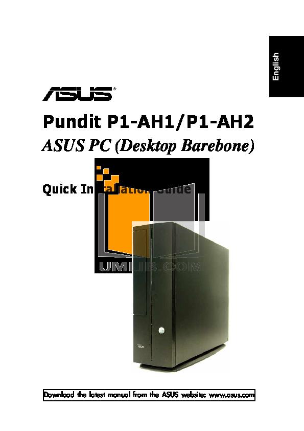 pdf for Asus Desktop Pundit P1-AH2 manual