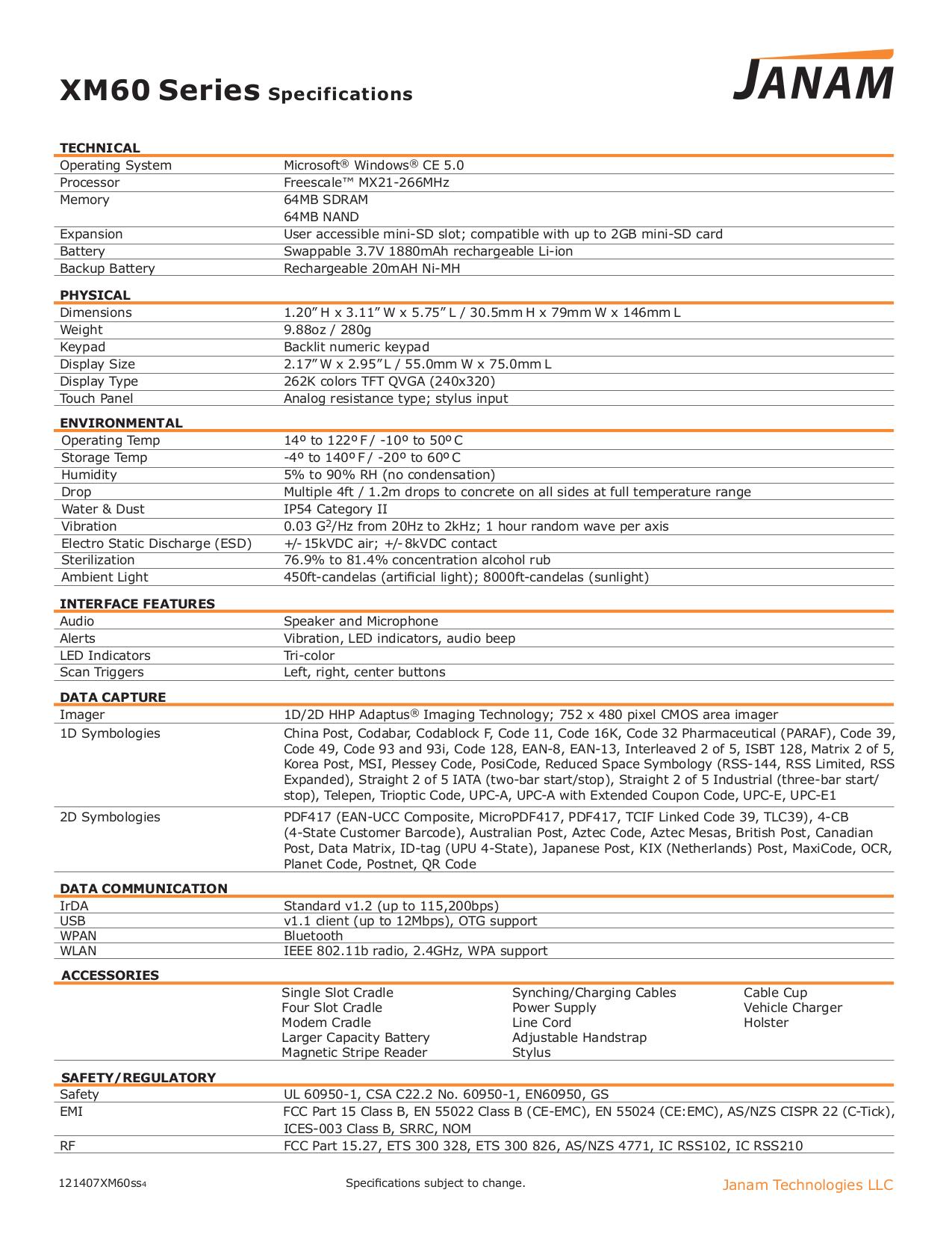 Janam Other XP Series CK-XP-4 Cradle Kit pdf page preview
