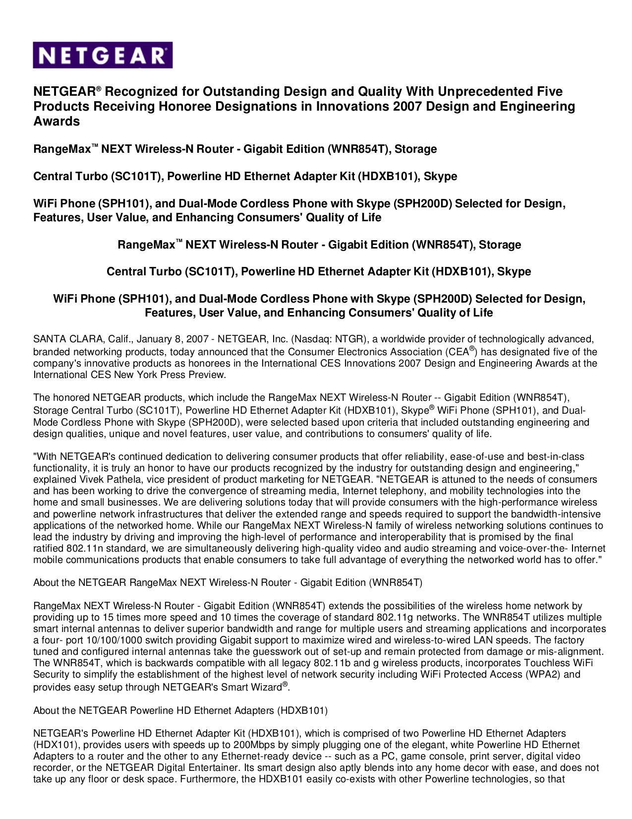pdf for Netgear Telephone SPH200D manual