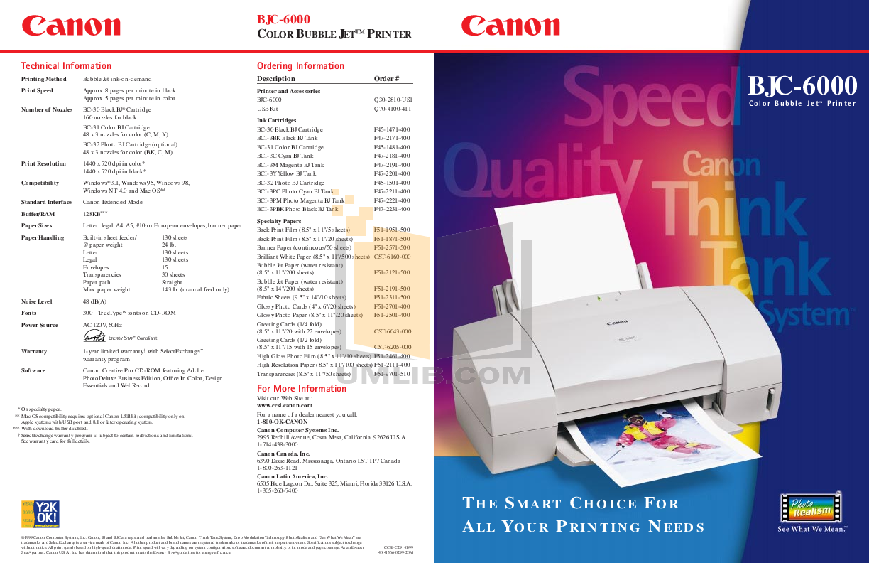 pdf for Canon Printer BJC-6000 manual