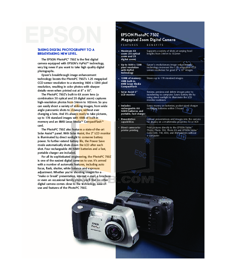 pdf for Epson Digital Camera PhotoPC 550 manual