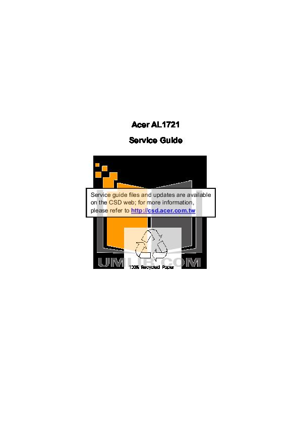 pdf for Acer Monitor AL1721 manual