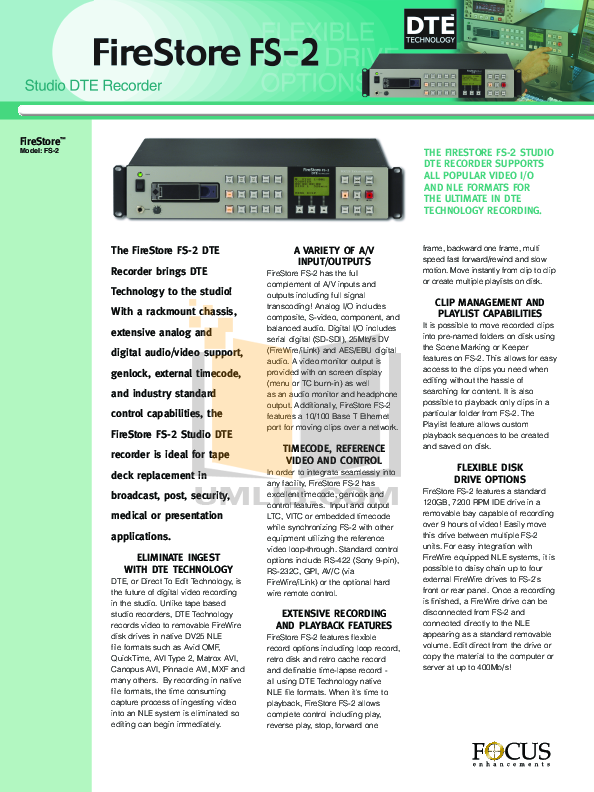 pdf for Focus Storage Firestore FS-M manual