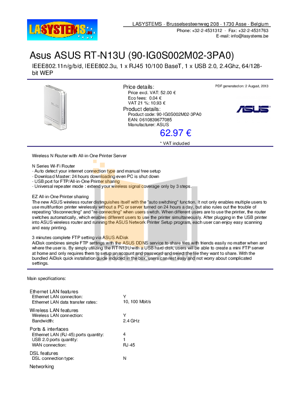 pdf for Asus Wireless Router RT-N13U manual
