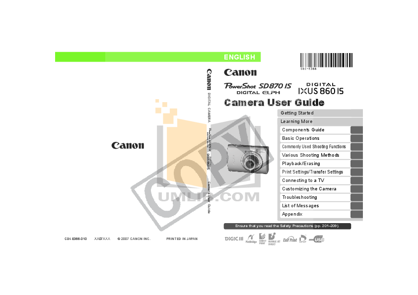 pdf for Canon Printer SELPHY CP750 manual