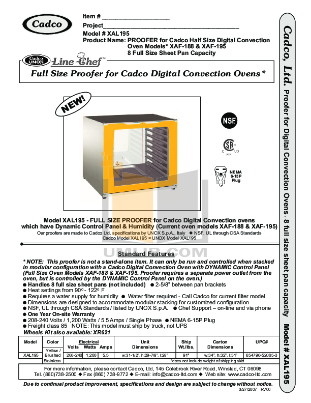pdf for Cadco Other XAL195 Proofers manual