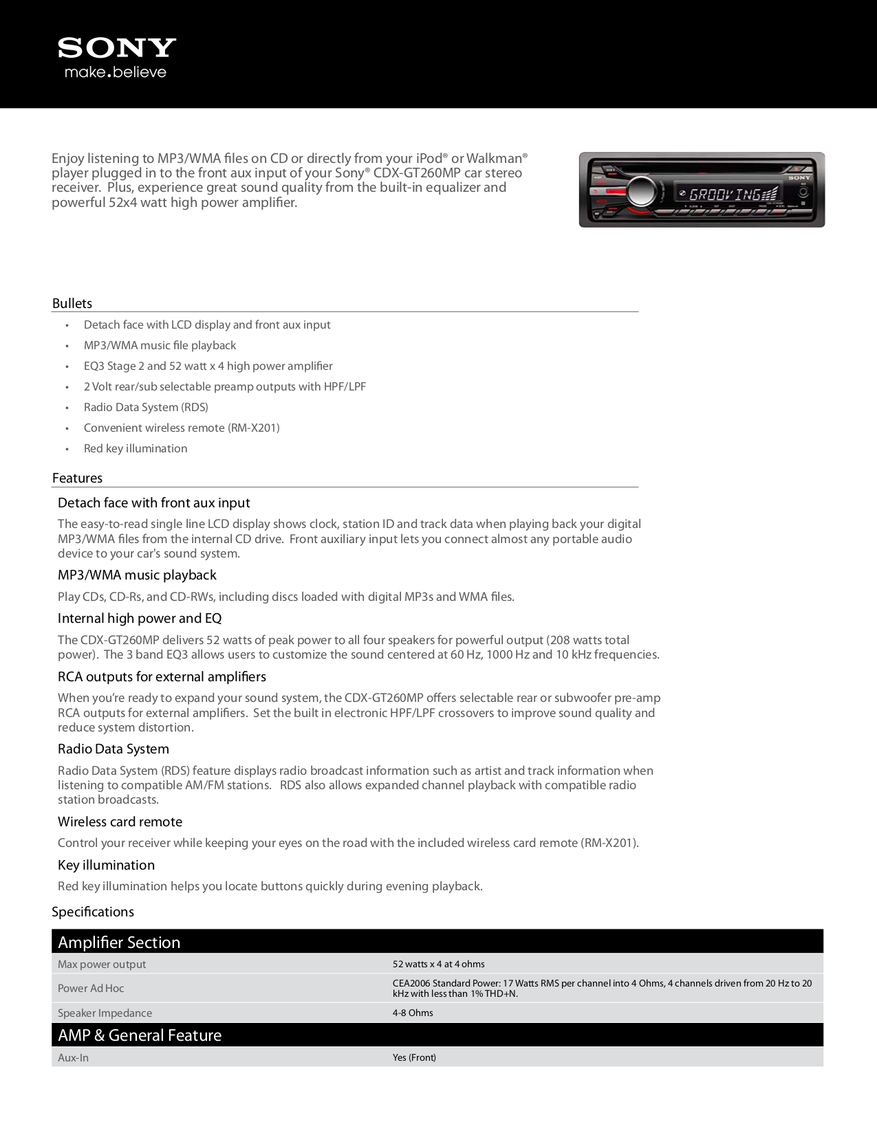 Download Free Pdf For Sony Xplod Cdx Gt40u Car Receiver Manual Amplifier