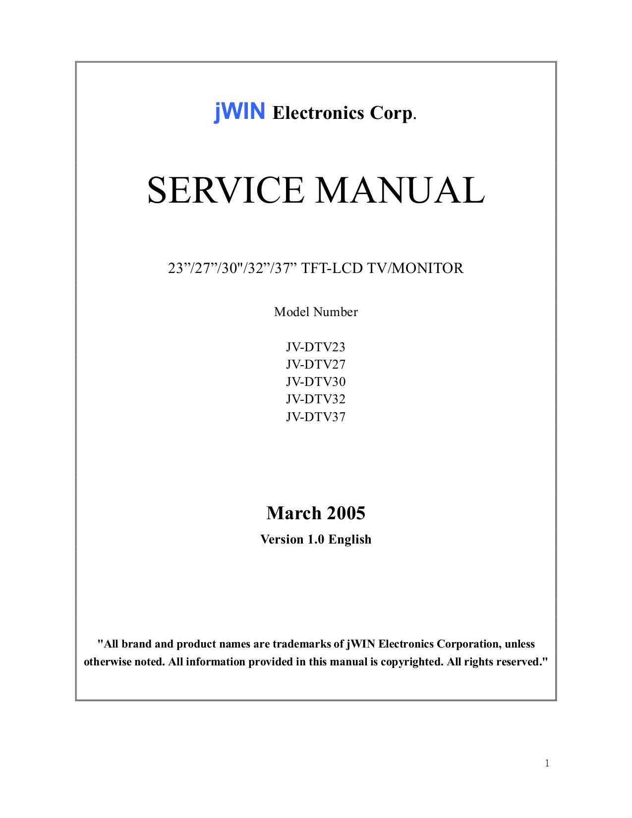 pdf for jWIN TV JV-DTV37 manual