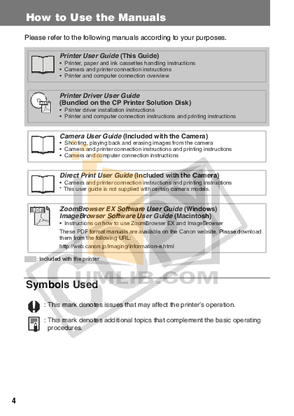Canon Printer CP-330 pdf page preview