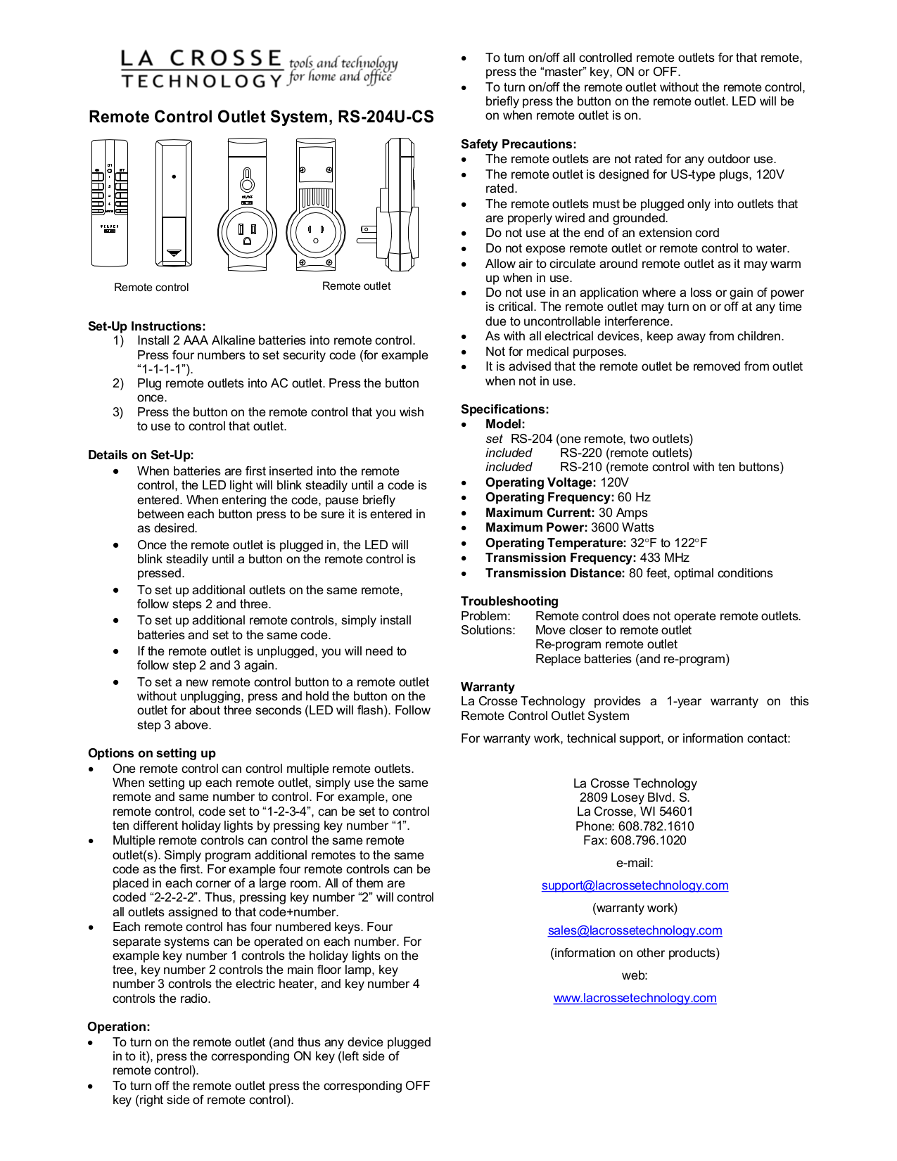 pdf for Lacrosse Remote Control RS-204 manual