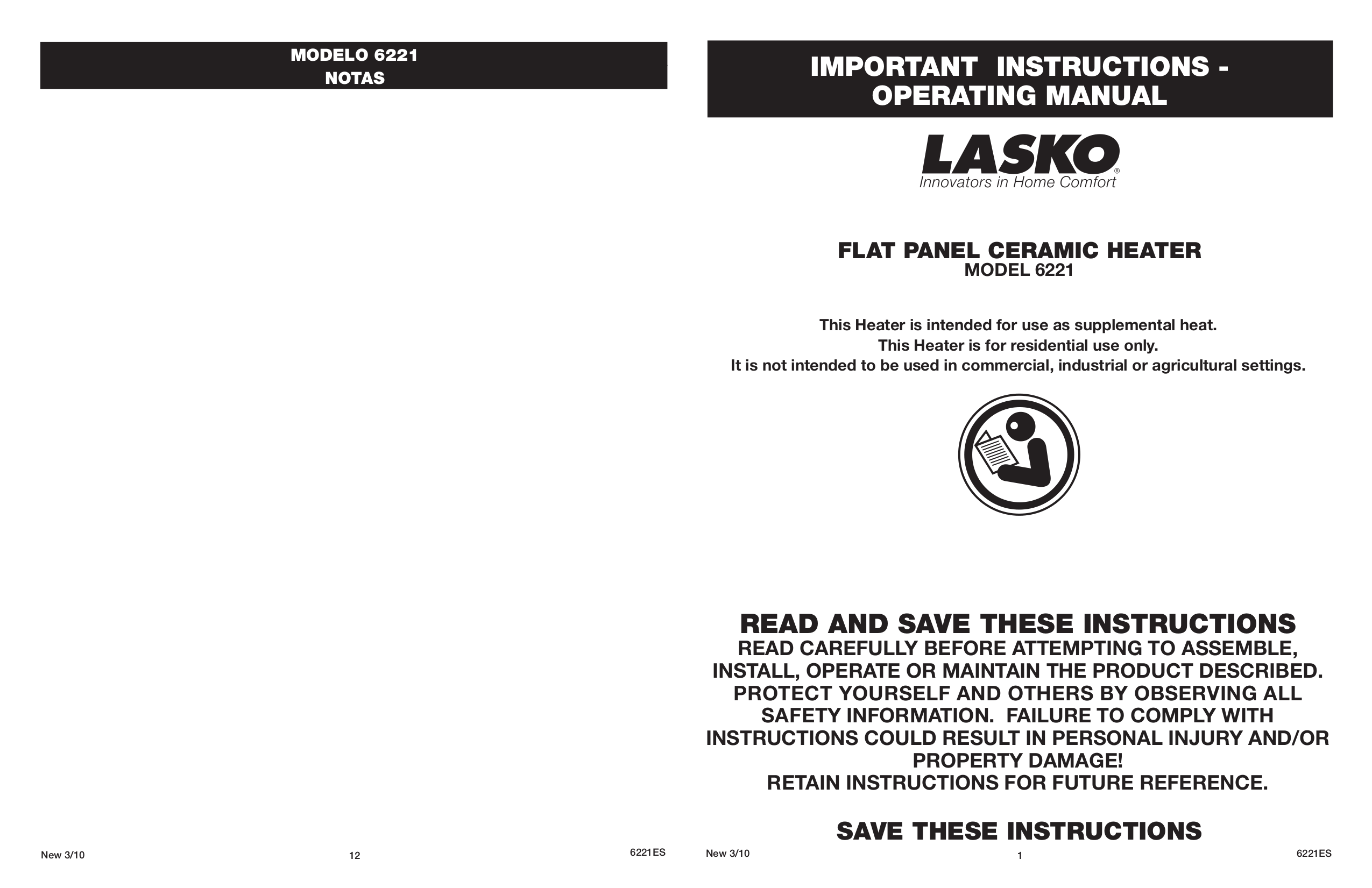 pdf for Lasko Heater 6221 manual