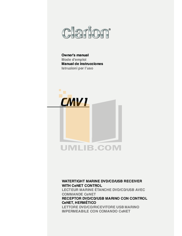 pdf for Clarion Other DCZ625 Marine CD Changers manual