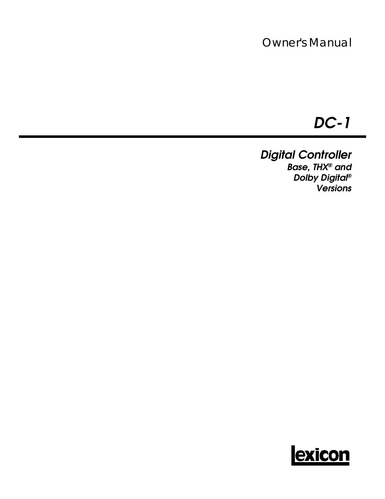 pdf for Lexicon Receiver DC-1 manual