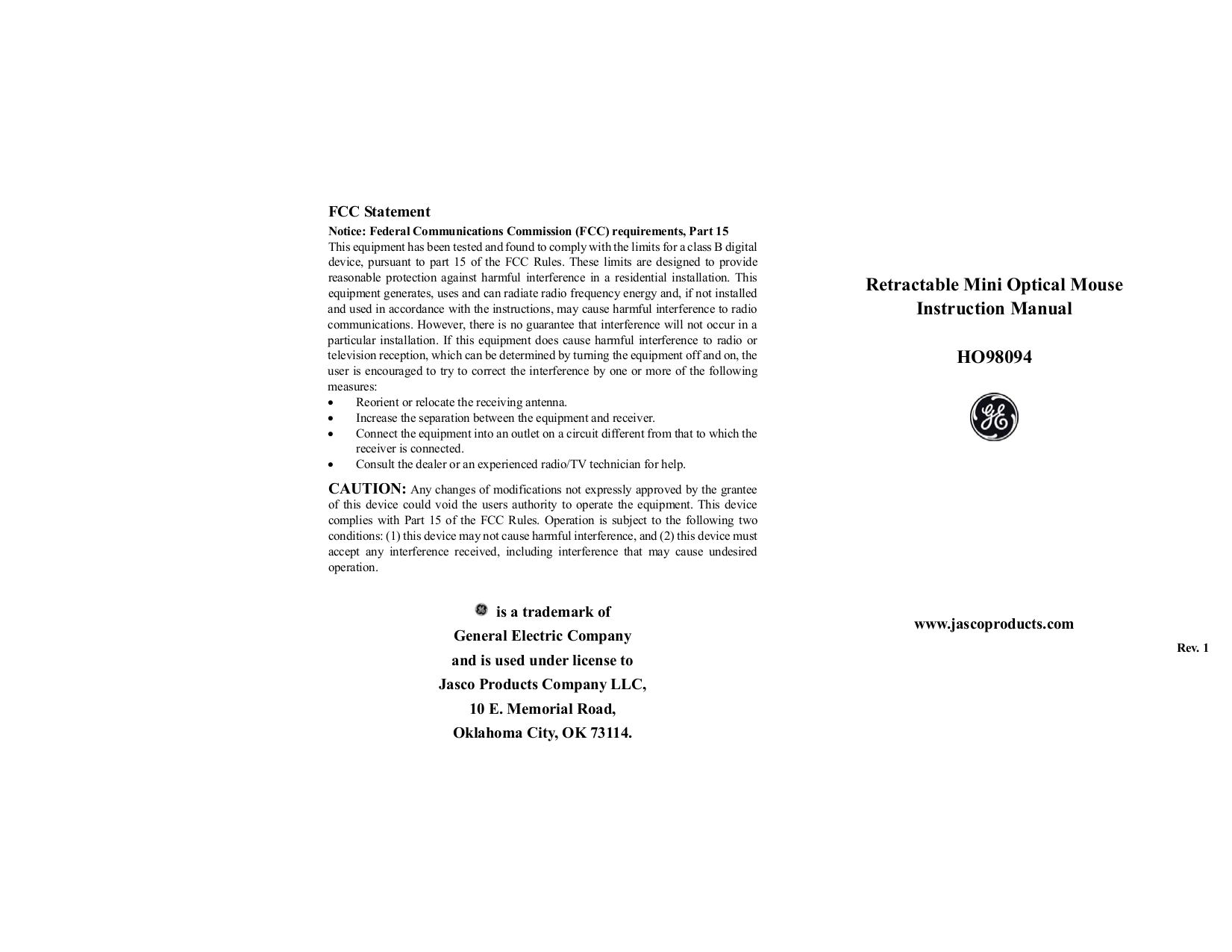 pdf for Jasco Mouse HO98094 manual