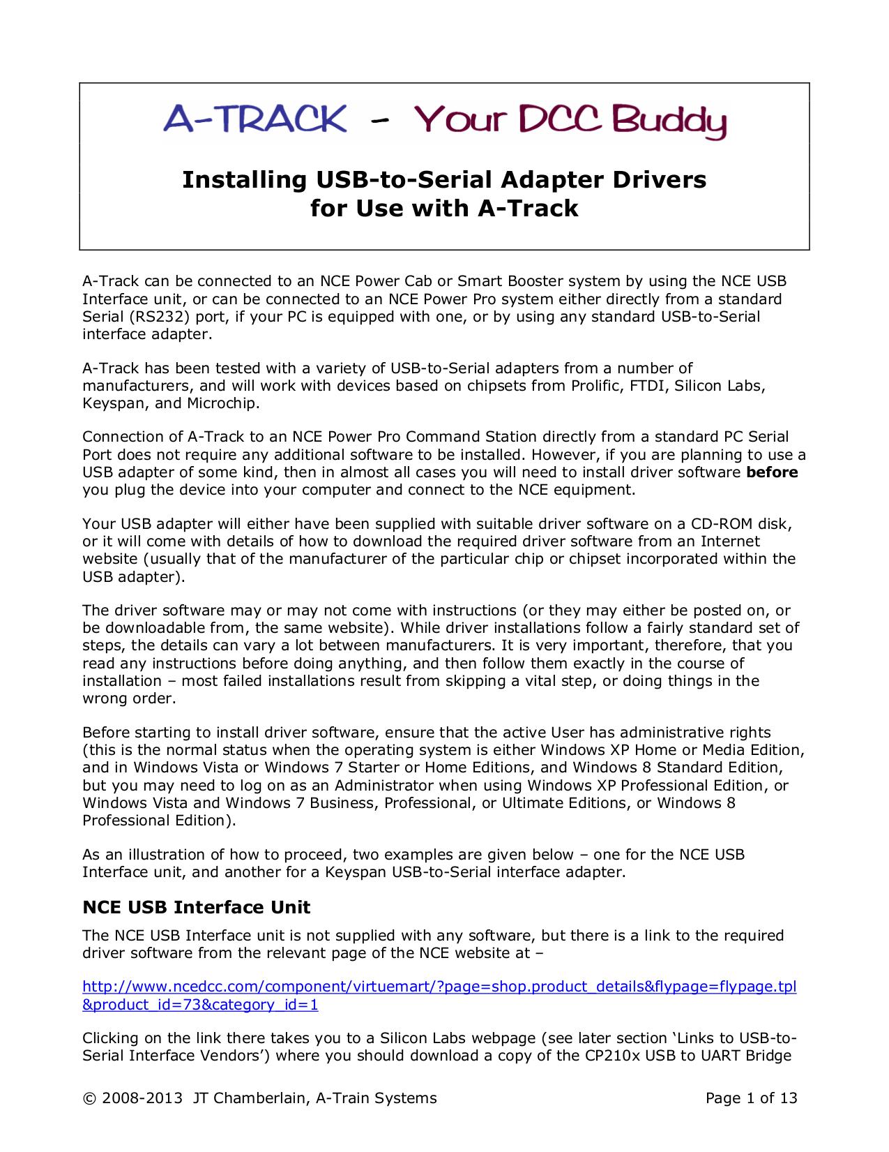 pdf for Keyspan Other USB Serial Adapter version 2.0 Software manual