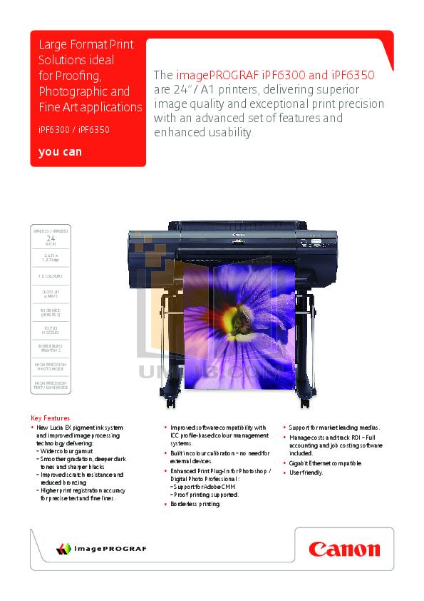 pdf for Canon Printer imagePROGRAF iPF6350 manual