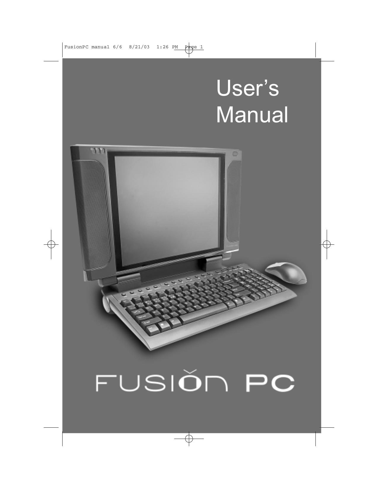 pdf for Winbook Desktop FusionPC manual