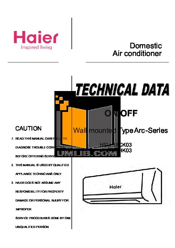 Haier Air Conditioner manual Hwr10xc6