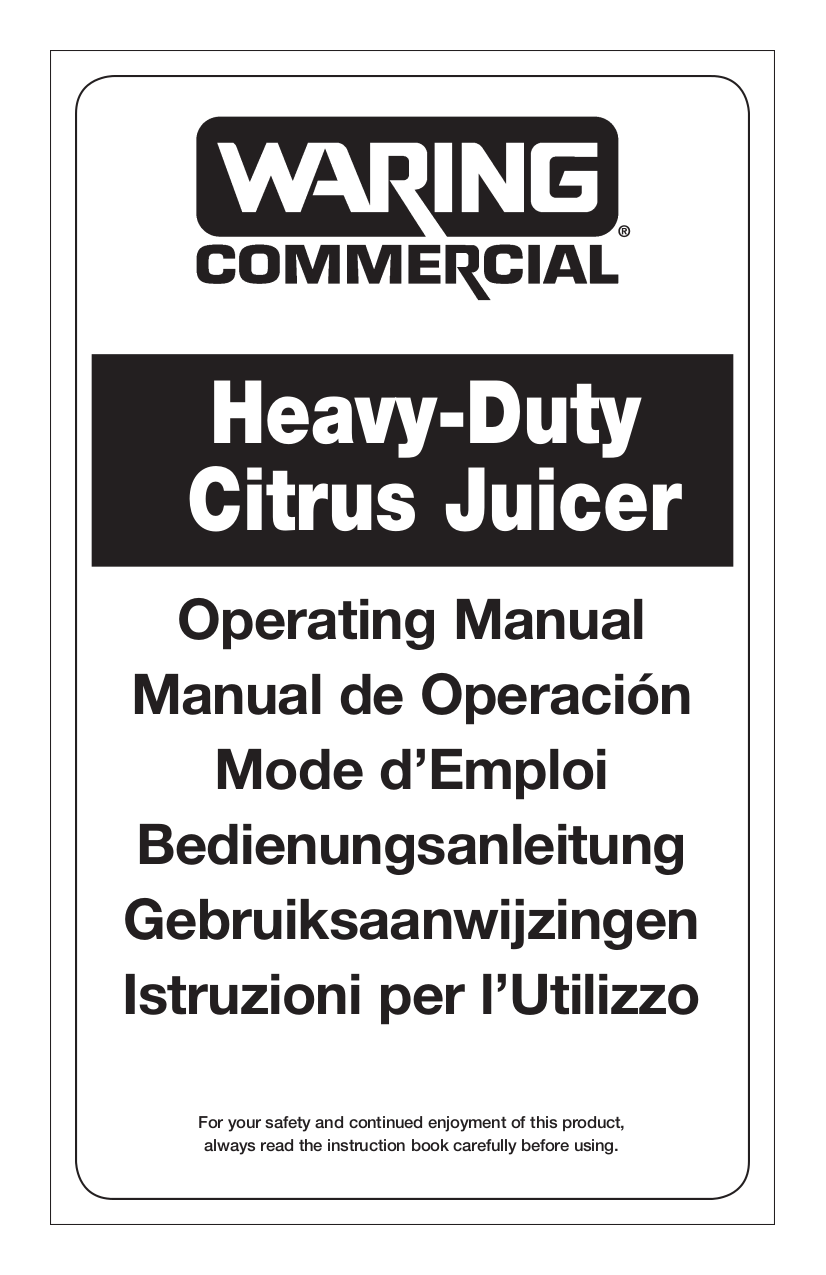 pdf for Waring Other JC3000 Juicers manual