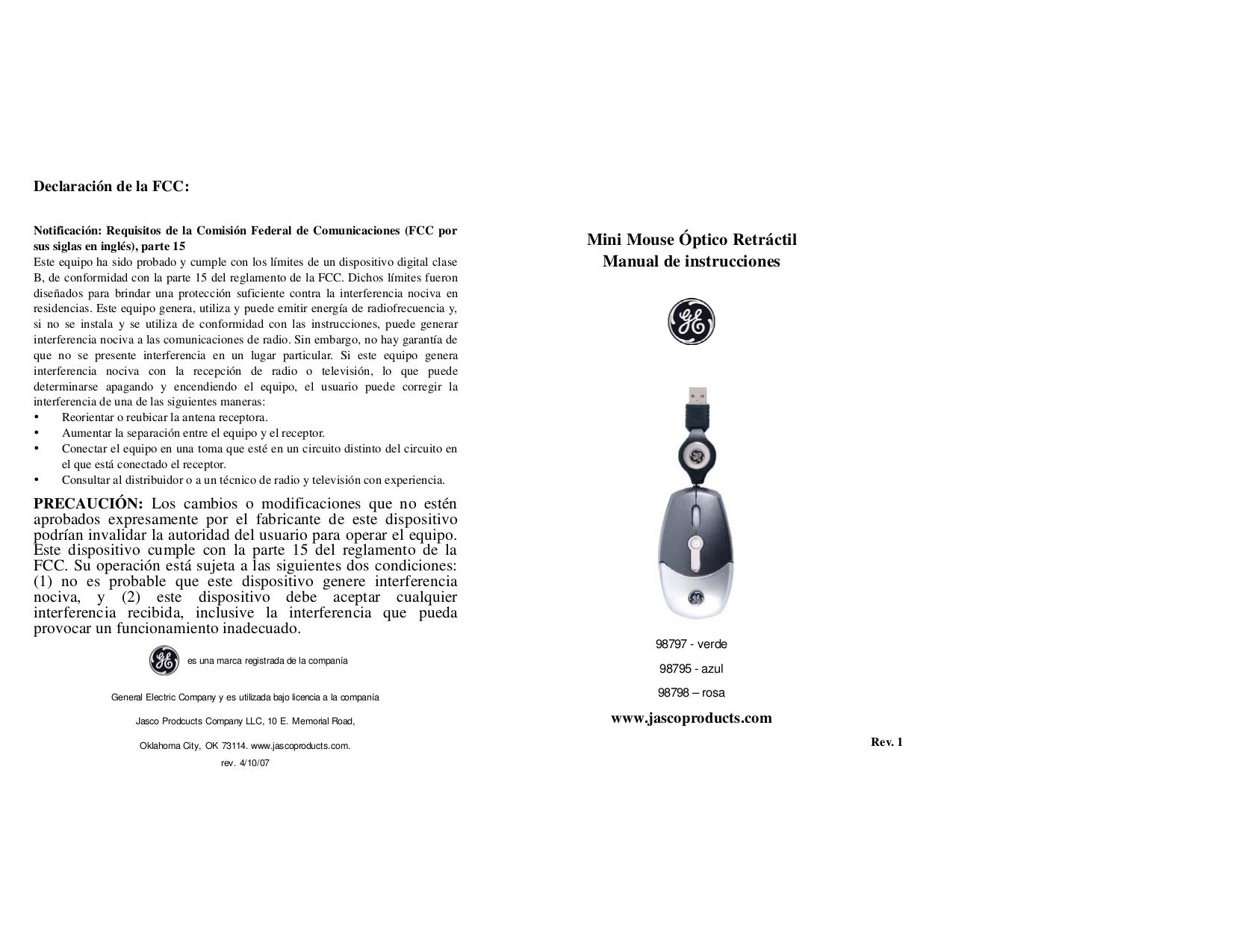 pdf for Jasco Mouse 98795 manual
