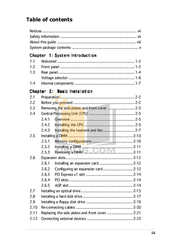 Asus Desktop Vintage AE1 pdf page preview