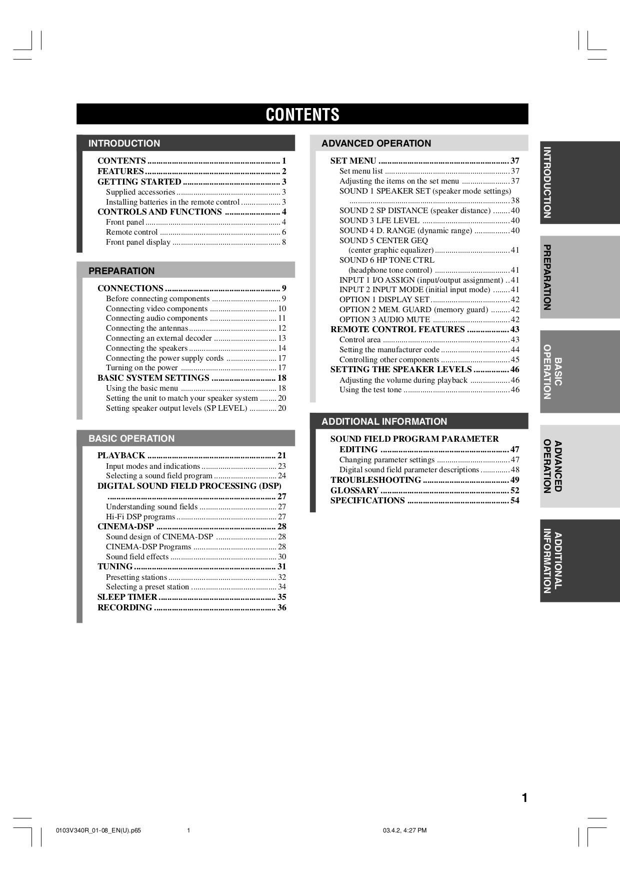 NAD Remote Control HTR-1 pdf page preview