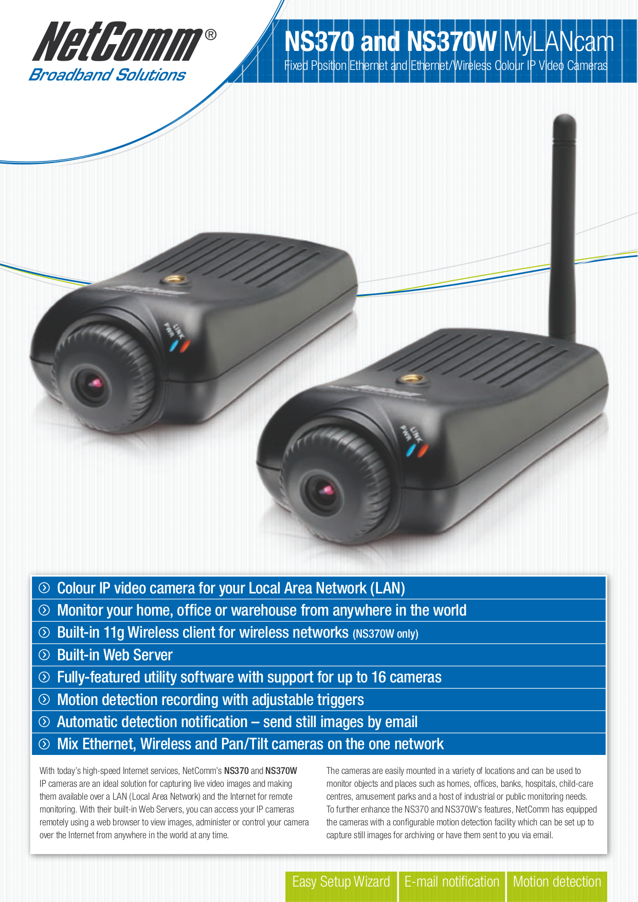 pdf for Netcomm Security Camera NS370 manual