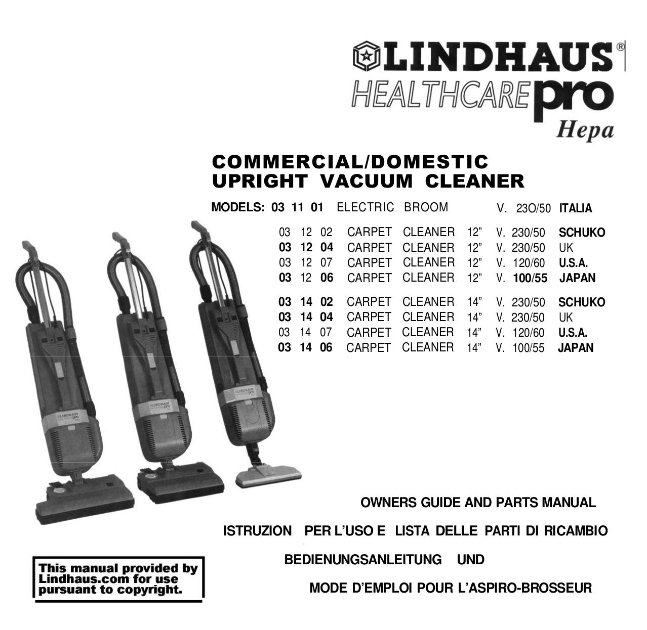 pdf for Lindhaus Vacuum Health Care manual