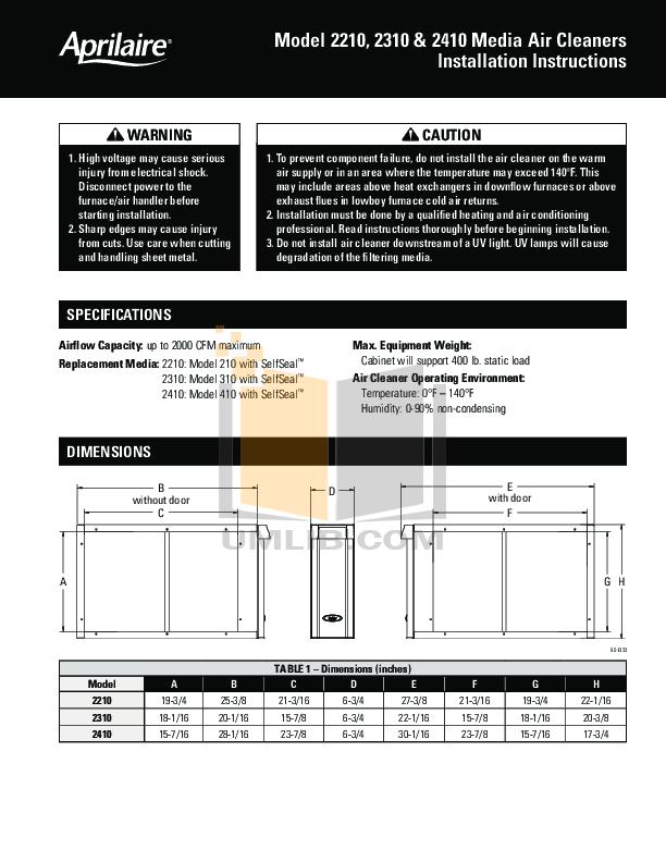 pdf for Aprilaire Air Purifier 2210 manual