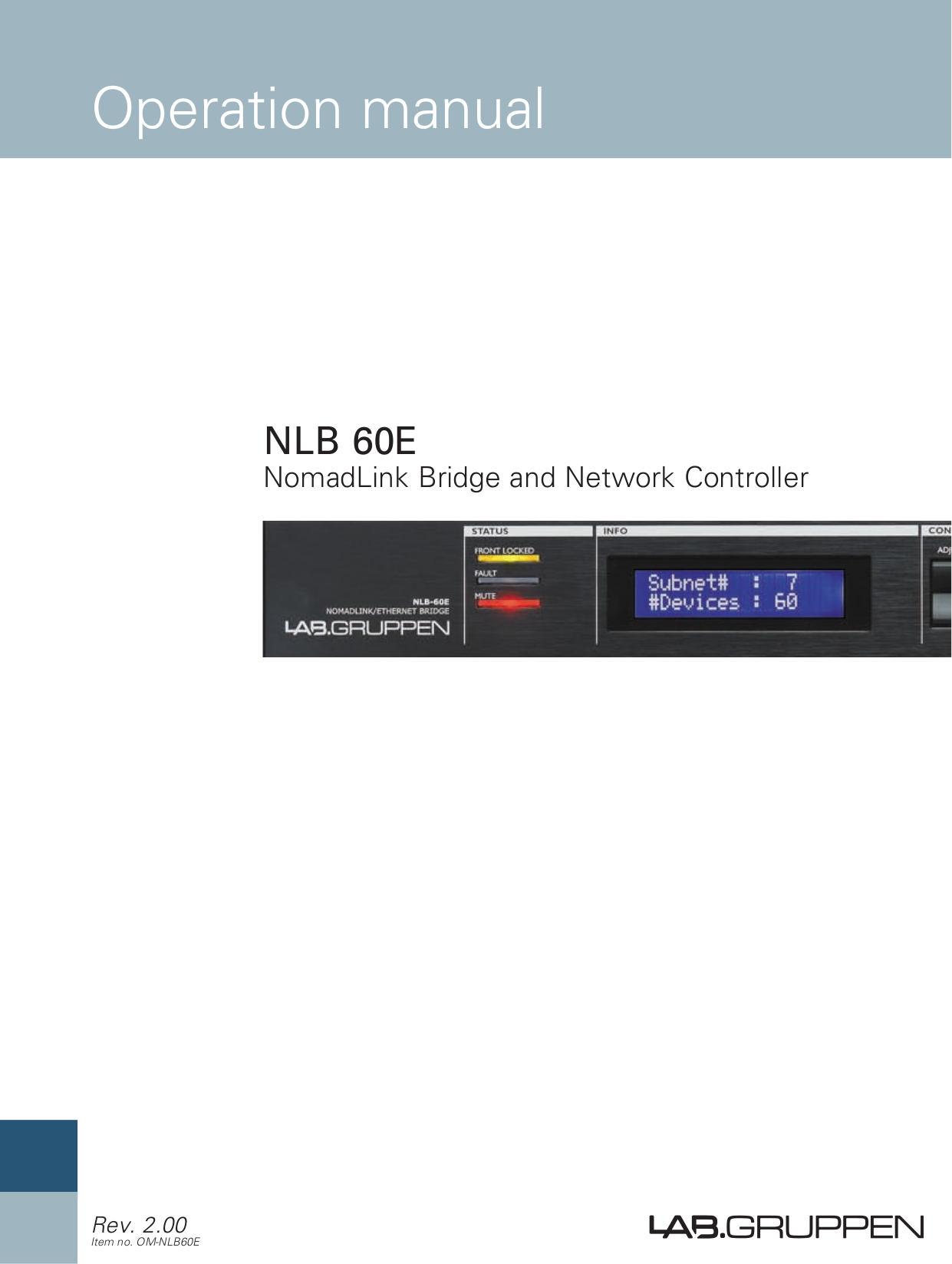 pdf for Lab.gruppen Other NLB 60E Controllers manual