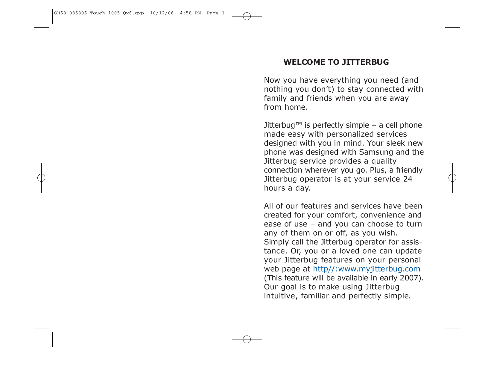 pdf for Jitterbug Cell Phone One Touch manual