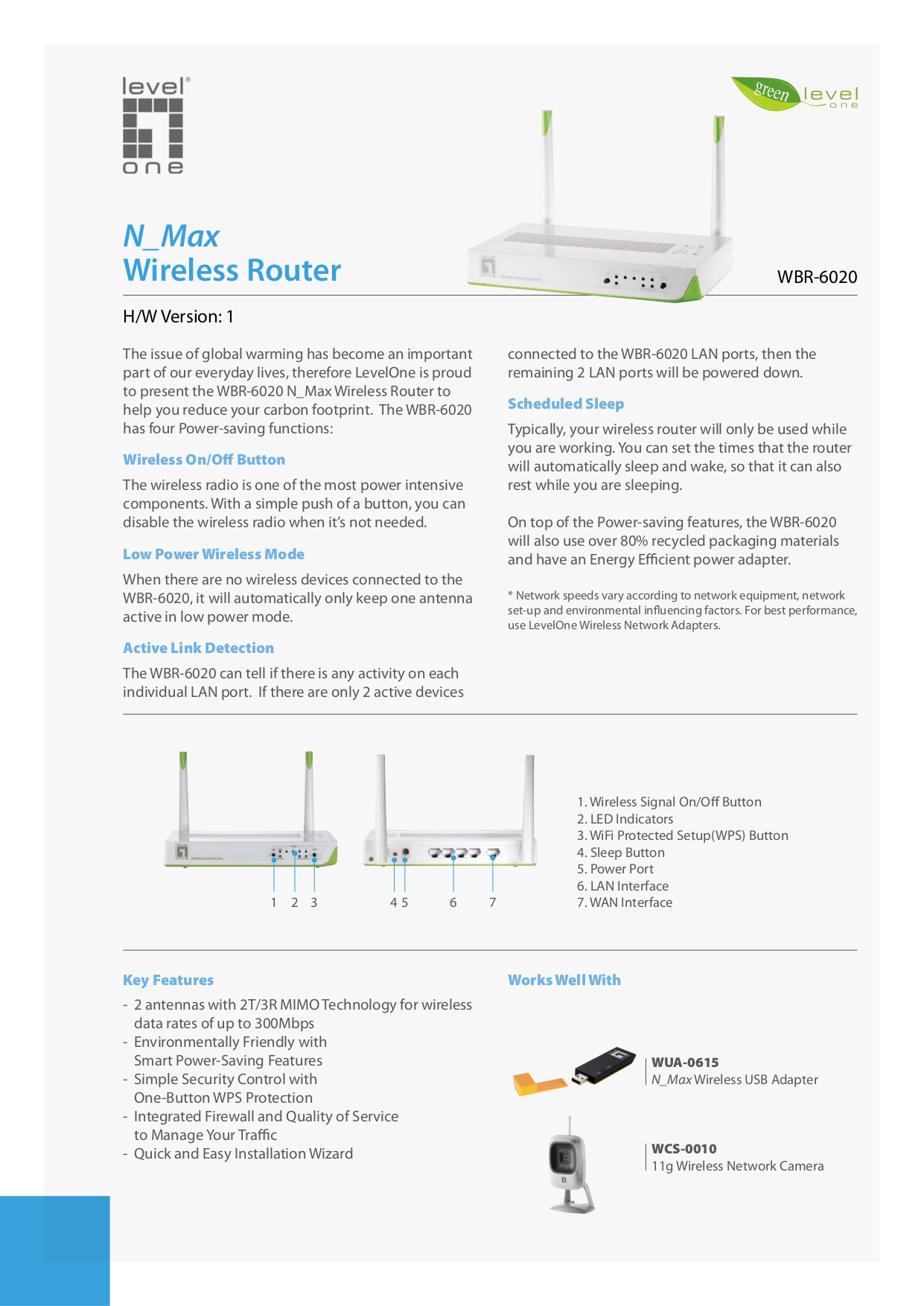 pdf for LevelOne Wireless Router WBR-6020 manual