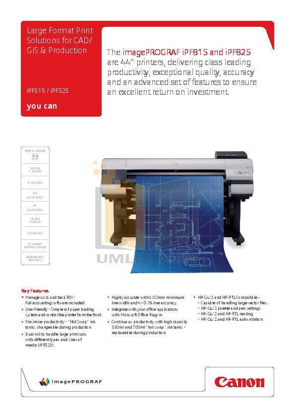 pdf for Canon Printer imagePROGRAF iPF815 manual