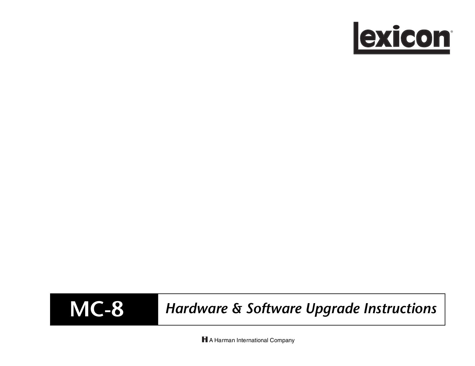 pdf for Lexicon Receiver MC-8B manual