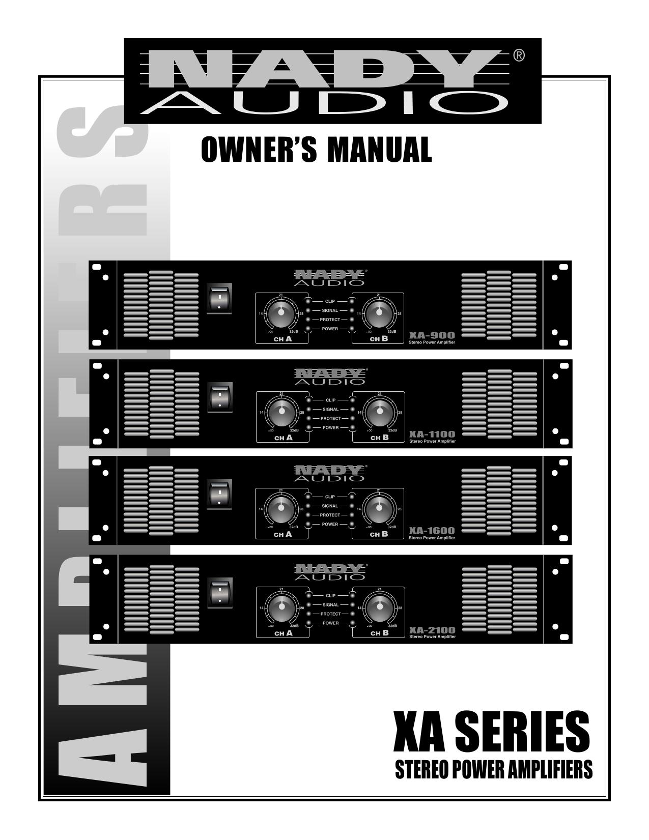 pdf for Nady Amp XA-900 manual