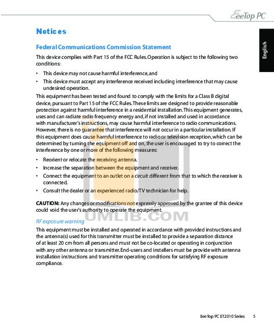 Asus Desktop Eee Top ET2010 pdf page preview