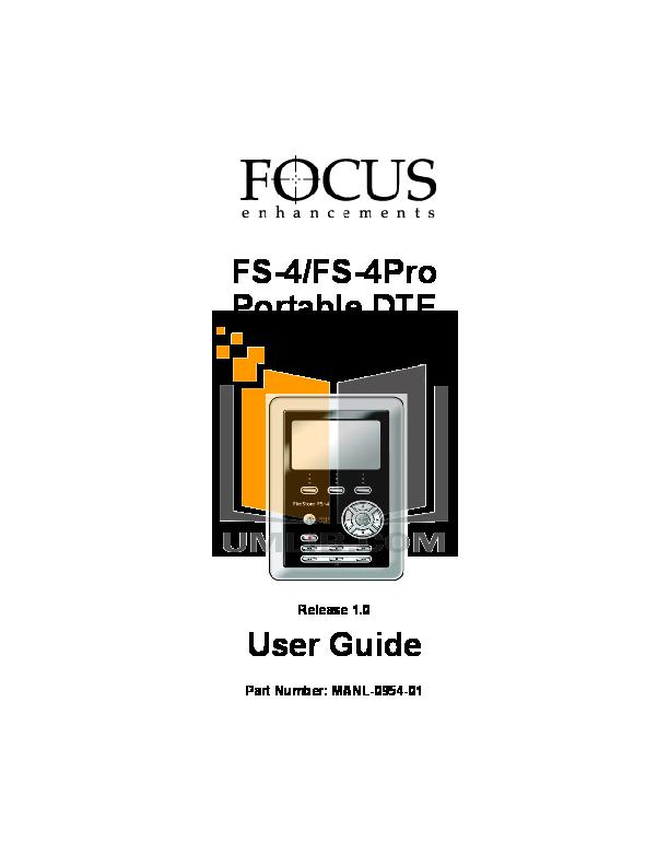 pdf for Focus Storage Firestore FS-1 manual