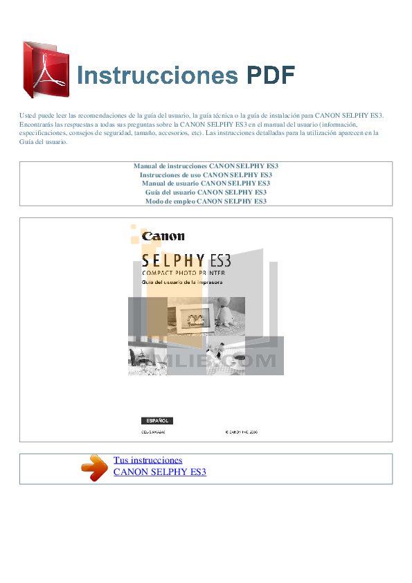 pdf for Canon Printer SELPHY ES3 manual