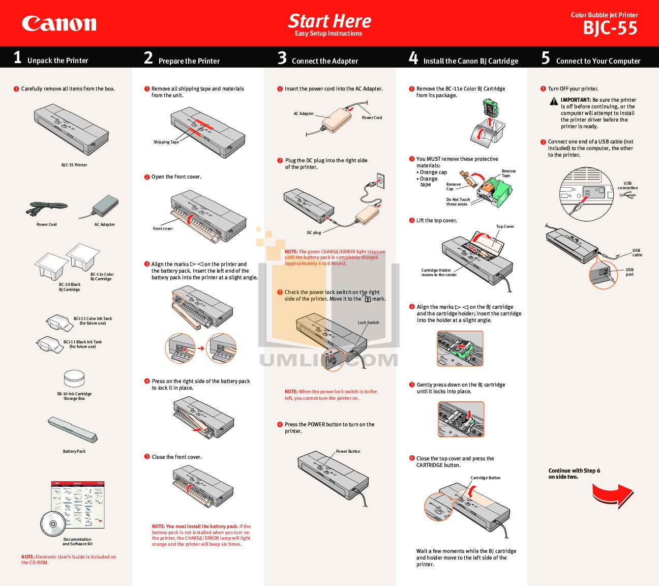 pdf for Canon Printer BJC-55 manual