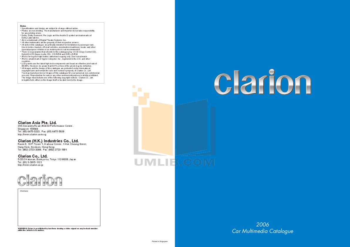 pdf for Clarion Other DVH940 Car Audio Processors manual