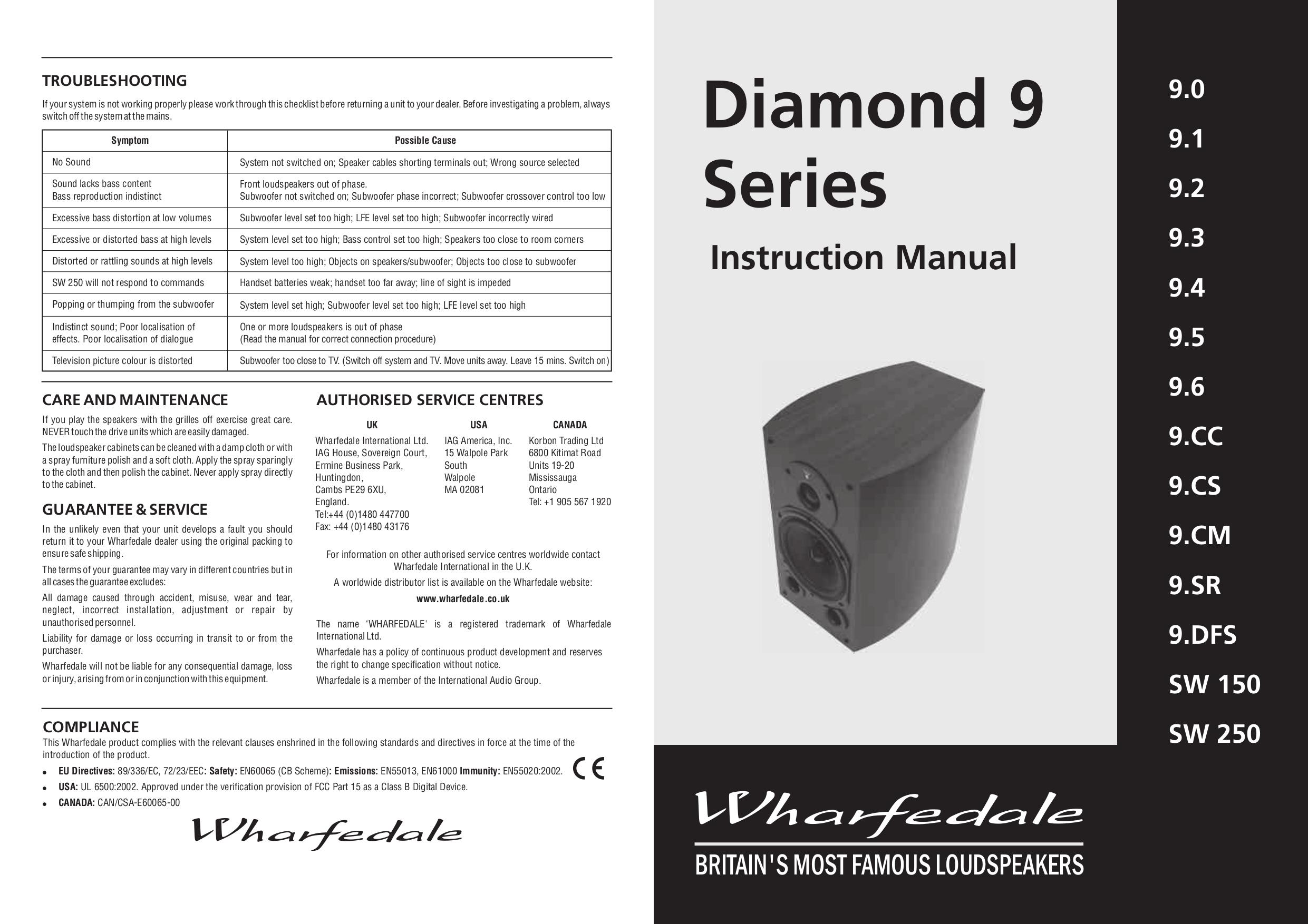 pdf for Wharfedale Speaker Diamond 9.6 manual