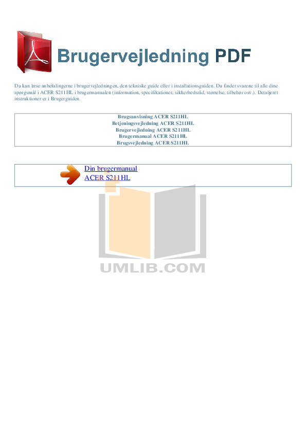 pdf for Acer Monitor S211HL manual