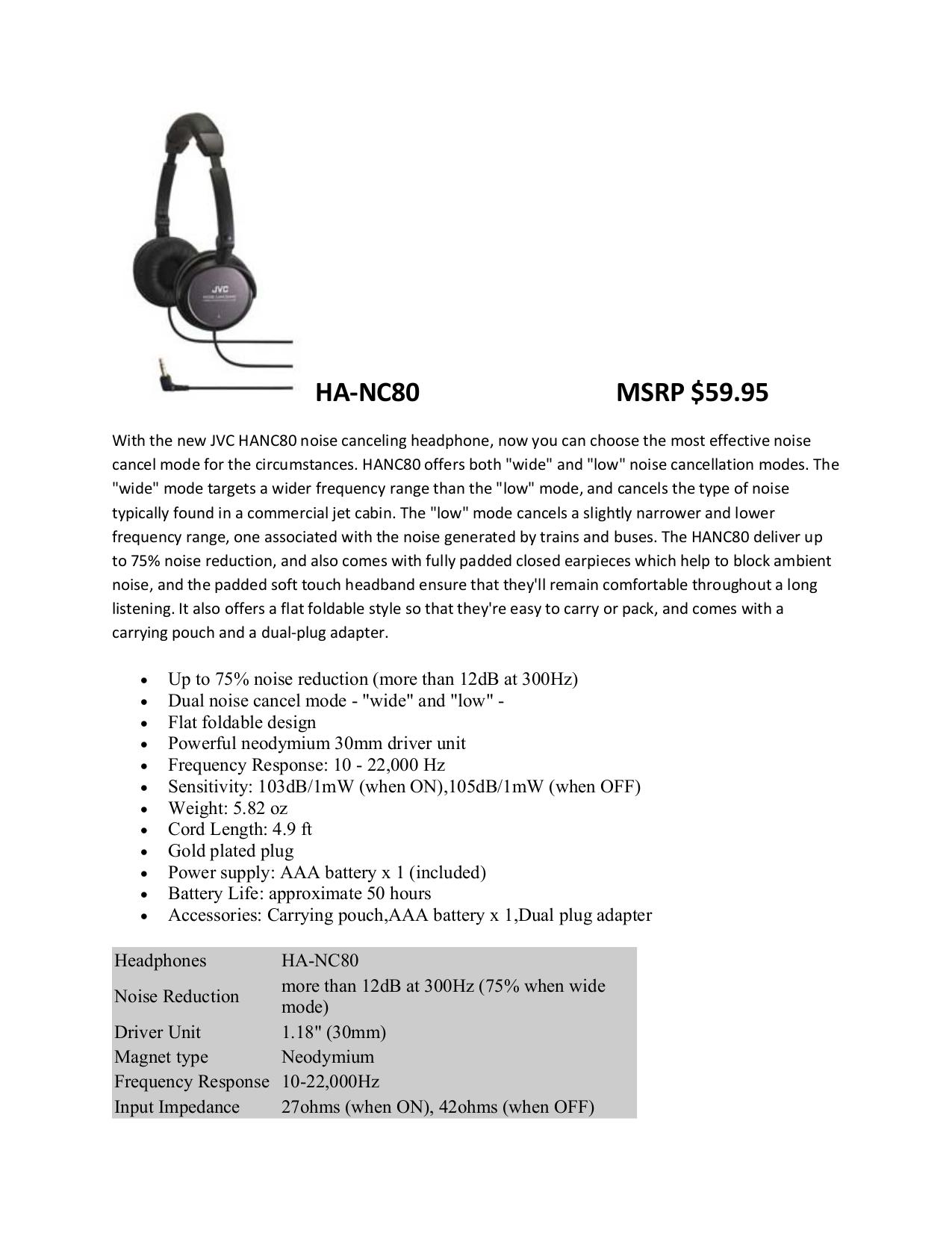 pdf for JVC Headphone HA-NC80 manual