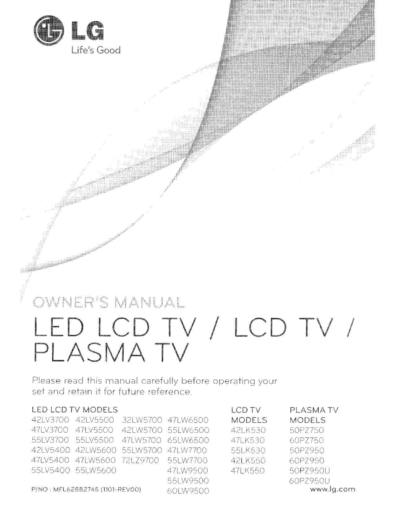 pdf for LG Plasma TV 60PZ750 manual