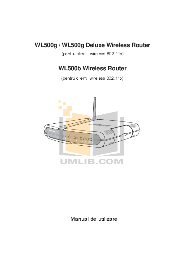 pdf for Asus Wireless Router WL-500g manual